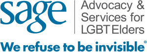 """[Image description: logo of the charity Sage, which reads, """"Advocacy & Services for LGBT Elders. We refuse to be invisible.""""]"""